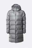 Rains Metallic Charcoal Polyester Long Puffer Jacket - XXS/XS | polyester | Metallic Charcoal