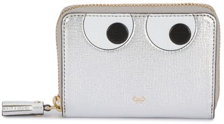 Anya Hindmarch small silver leather Eyes zip around wallet