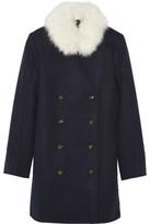 Sonia Rykiel Shearling-Trimmed Wool Coat