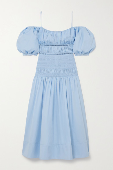 Self-Portrait Shirred Crochet-trimmed Cotton-poplin Midi Dress - Light blue
