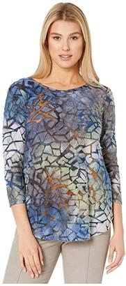 Karen Kane Tie-Dye Burnout Shirttail Tee (Tie-Dye) Women's Clothing