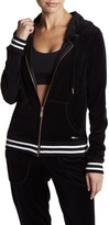 Betsey Johnson Velour Striped Ribbed Zip Up Hoodie