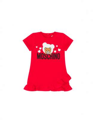 Moschino Dress With Logo And Teddy Bear Unisex Red Size 6/9m It