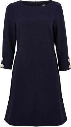 Wallis Navy Button Detail Crepe Dress