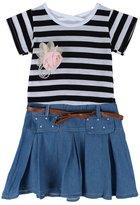 Careesoffe Baby Girls Summer Stripes Casual Short Sleeve Princess Denim Dress
