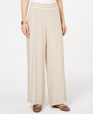 JM Collection Metallic-Detail Wide-Leg Gauze Pants, Created for Macy's