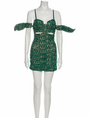 Self-Portrait Lace Pattern Mini Dress Green