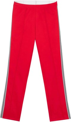 Burberry stripe detail double-waist trackpants red