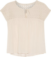 Joie Mancuso crochet-paneled cotton-blend top