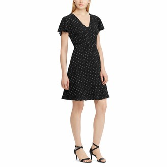 Chaps Women's Crepe Flutter-Sleeve Dress
