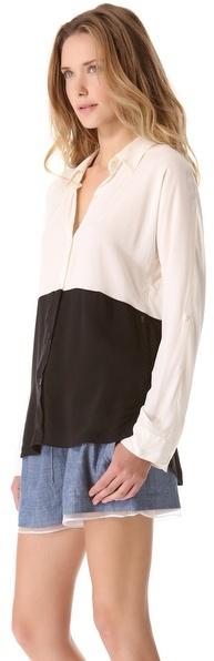 Splendid Colorblock Button Down Shirt