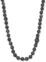 Armenta Blackened Sterling Silver Old World Midnight Beaded Labradorite, Carved Tahitian South Sea Black Pearl and Champagne Diamond Necklace, 18