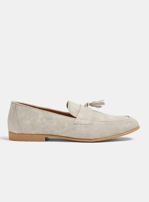 Topman Grey Piper Embossed Tassel Loafers