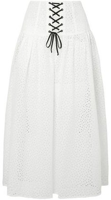 Marysia Swim Lace-up Gathered Broderie Anglaise Cotton Midi Skirt