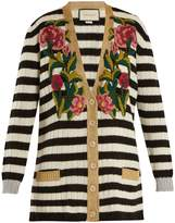 Gucci Striped V-neck cashmere-blend cardigan
