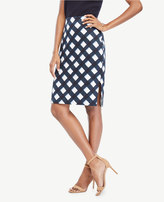 Ann Taylor Curvy Graphic Gingham Pencil Skirt