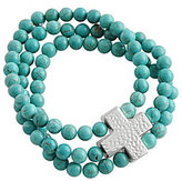 Barse Turquoise 3-Row Hammered Cross Stretch Bracelet