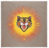 Gucci Angry Cat print modal silk shawl