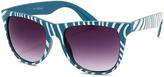A. J. Morgan Teal & White Zebra Safari Sunglasses
