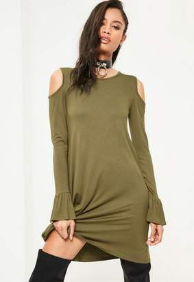 Missguided Khaki Cold Shoulder Ruffle Cuff Swing Dress