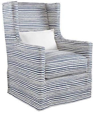 One Kings Lane Nicole Swivel Chair - Indigo
