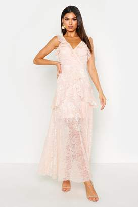 boohoo Lace Maxi Frill Layer Dress