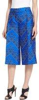 Diane von Furstenberg Stanton Chevron Dots Wool-Silk Mikado Culottes, Blue
