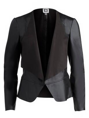 Anne Klein Faux Leather Drape Front Jacket