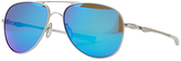 Oakley OO4119 Elmont Medium Polarised Aviator Sunglasses, Satin Chrome/Sapphire Iridium