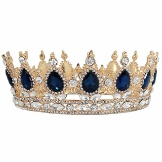 Beaupretty 1pc Exquisite Bridal Prom Crystal Tiara Wedding Crown Rhinestone Tiaras with Gemstones for Women Ladies Female(Golden and Dark Blue)