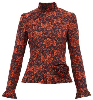 Batsheva Rosette Red Grape-print Cotton Top - Womens - Black Red