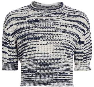 See by Chloe Space Dye Crop Knit Wool-Blend Sweater