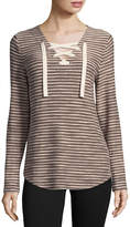 SJB ACTIVE St. John's Bay Active Long Sleeve Lace Up Top