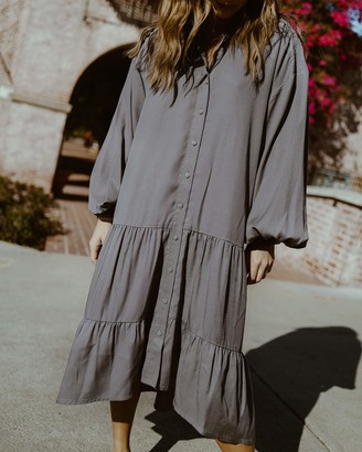 The Drop Women's Charcoal Drop Shoulder Loose-Fit Dress by @spreadfashion S