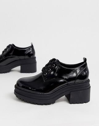 Asos Design DESIGN Survivor chunky mid-heels in black patent