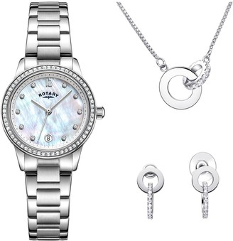 Rotary EXCLUSIVE Mother of Pearl and Swarovski Date Dial Stainless Steel Bracelet Ladies Watch with Necklace and Earrings Gift Set