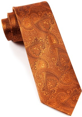 Tie Bar Twill Paisley Burnt Orange Tie