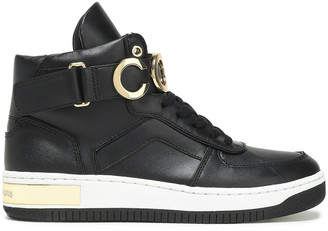 MICHAEL Michael Kors Gold Tone-trimmed Logo-embellished Leather Sneakers