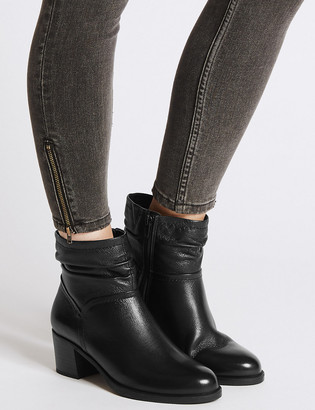 Marks and Spencer Wide Fit Leather Ruched Block Heel Ankle Boots