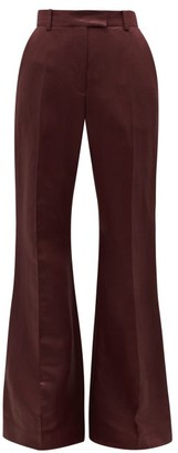 Joseph Tana High-rise Flared Linen-blend Trousers - Burgundy