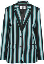 Topshop Beale Striped Satin-twill Blazer - Turquoise