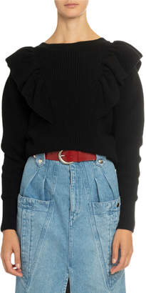 Isabel Marant Crewneck Ruffled Sweater