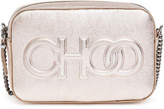 Jimmy Choo Platinum metallic nappa leather embossed logo camera bag