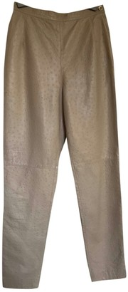 Genny Beige Leather Trousers for Women