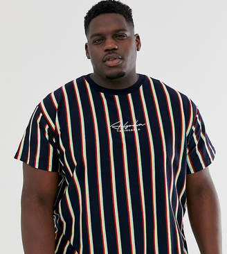 New Look Plus neon vertical stripe t-shirt in navy-Black