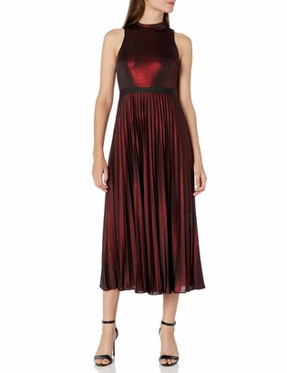 Donna Morgan Women's Stretch Foil Pleated Skirt Halter Dress