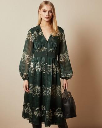 Ted Baker DELYLA Meadow Sweep long sleeved midi dress