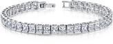 Ice 16 3/4 CT TW Channel Set Cubic Zirconia and Sterling Silver Tennis Bracelet