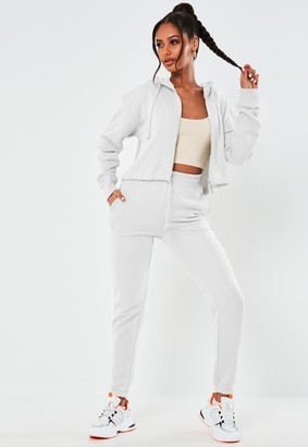 Missguided White Cropped Hoodie And Joggers Co Ord Set
