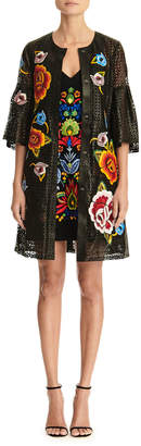 Carolina Herrera Floral Embroidered Bell-Sleeve Laser Cut Leather Coat